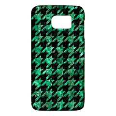Houndstooth1 Black Marble & Green Marble Samsung Galaxy S6 Hardshell Case