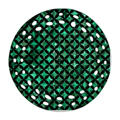 Circles3 Black Marble & Green Marble (r) Round Filigree Ornament (two Sides)