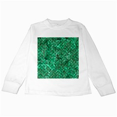 Brick2 Black Marble & Green Marble (r) Kids Long Sleeve T Shirt