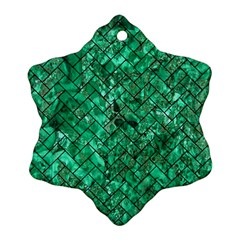 Brick2 Black Marble & Green Marble (r) Snowflake Ornament (two Sides)