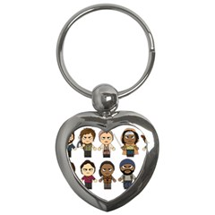 The Walking Dead   Main Characters Chibi   Amc Walking Dead   Manga Dead Key Chains (heart)