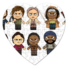 The Walking Dead   Main Characters Chibi   Amc Walking Dead   Manga Dead Jigsaw Puzzle (heart)