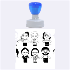 The Walking Dead   Main Characters Chibi   Amc Walking Dead   Manga Dead Rubber Round Stamps (Large)
