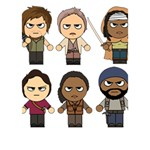The Walking Dead   Main Characters Chibi   Amc Walking Dead   Manga Dead WORK HARD 3D Greeting Card (7x5)  Inside