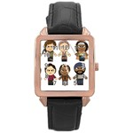 The Walking Dead   Main Characters Chibi   Amc Walking Dead   Manga Dead Rose Gold Leather Watch  Front