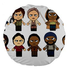 The Walking Dead   Main Characters Chibi   Amc Walking Dead   Manga Dead Large 18  Premium Flano Round Cushions