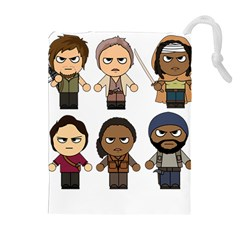 The Walking Dead   Main Characters Chibi   Amc Walking Dead   Manga Dead Drawstring Pouches (Extra Large)