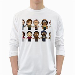 The Walking Dead   Main Characters Chibi   Amc Walking Dead   Manga Dead White Long Sleeve T Shirts