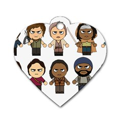 The Walking Dead   Main Characters Chibi   Amc Walking Dead   Manga Dead Dog Tag Heart (two Sides)