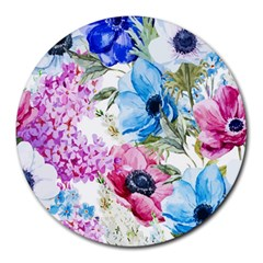 Watercolor Spring Flowers Round Mousepads