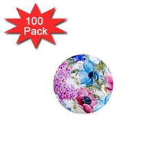 Watercolor Spring Flowers 1  Mini Magnets (100 Pack)