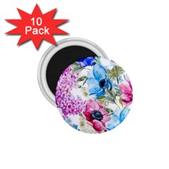 Watercolor spring flowers 1.75  Magnets (10 pack)