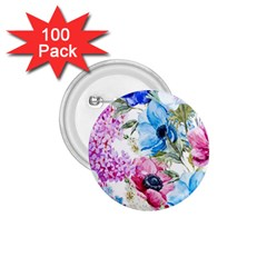 Watercolor spring flowers 1.75  Buttons (100 pack)