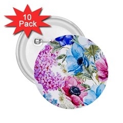 Watercolor Spring Flowers 2 25  Buttons (10 Pack)