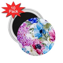 Watercolor Spring Flowers 2 25  Magnets (10 Pack)
