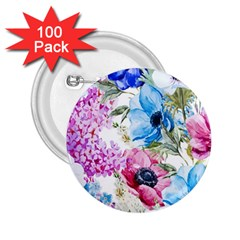 Watercolor Spring Flowers 2 25  Buttons (100 Pack)