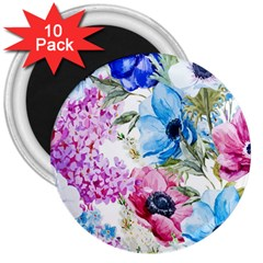 Watercolor spring flowers 3  Magnets (10 pack)