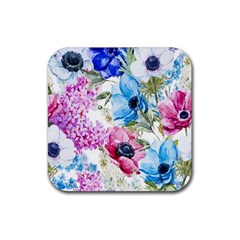 Watercolor Spring Flowers Rubber Coaster (square)