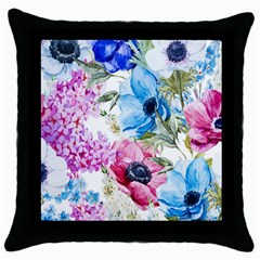 Watercolor Spring Flowers Throw Pillow Case (black)