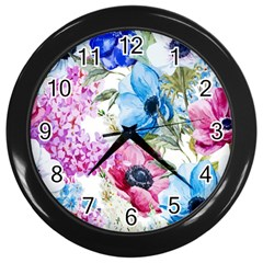 Watercolor Spring Flowers Wall Clocks (black)