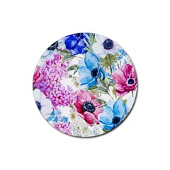 Watercolor spring flowers Rubber Coaster (Round)