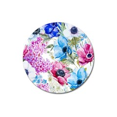 Watercolor Spring Flowers Magnet 3  (round)