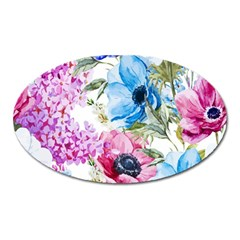 Watercolor Spring Flowers Oval Magnet