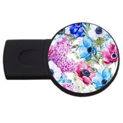 Watercolor spring flowers USB Flash Drive Round (2 GB)