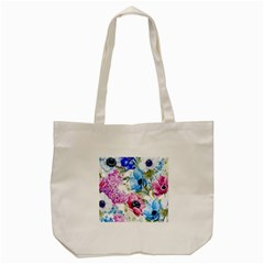 Watercolor Spring Flowers Tote Bag (cream)