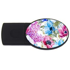 Watercolor Spring Flowers Usb Flash Drive Oval (4 Gb)