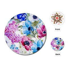 Watercolor spring flowers Playing Cards (Round)