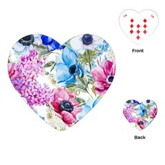 Watercolor Spring Flowers Playing Cards (heart)
