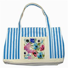 Watercolor spring flowers Striped Blue Tote Bag