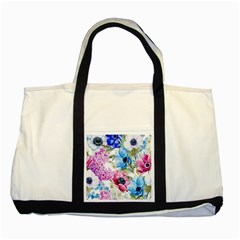 Watercolor Spring Flowers Two Tone Tote Bag