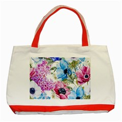 Watercolor Spring Flowers Classic Tote Bag (red)