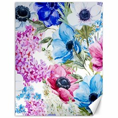 Watercolor spring flowers Canvas 12  x 16