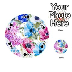 Watercolor Spring Flowers Playing Cards 54 (round)