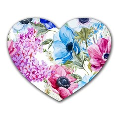 Watercolor Spring Flowers Heart Mousepads