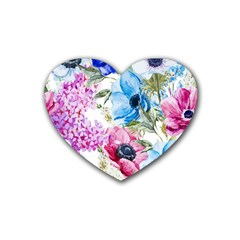 Watercolor Spring Flowers Rubber Coaster (heart)