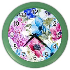 Watercolor Spring Flowers Color Wall Clocks