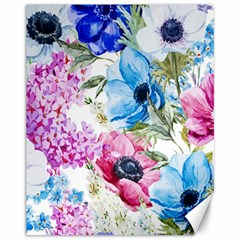 Watercolor Spring Flowers Canvas 11  X 14