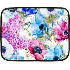 Watercolor Spring Flowers Double Sided Fleece Blanket (mini)