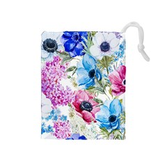 Watercolor Spring Flowers Drawstring Pouches (medium)