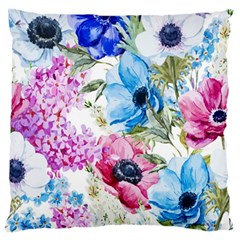 Watercolor Spring Flowers Large Flano Cushion Case (one Side)