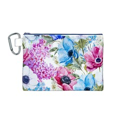 Watercolor spring flowers Canvas Cosmetic Bag (M)