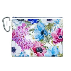 Watercolor spring flowers Canvas Cosmetic Bag (L)