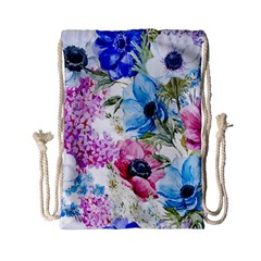 Watercolor spring flowers Drawstring Bag (Small)