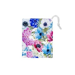 Watercolor spring flowers Drawstring Pouches (XS)