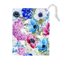 Watercolor spring flowers Drawstring Pouches (Extra Large)