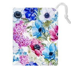 Watercolor Spring Flowers Drawstring Pouches (xxl)